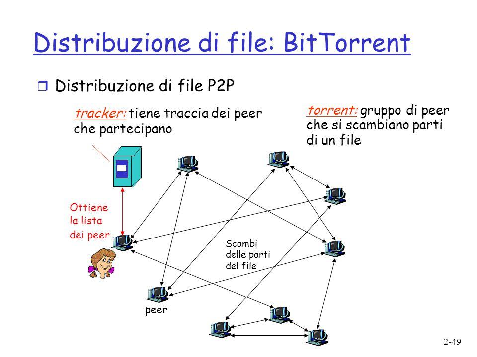 2-49 Distribuzione di file: BitTorrent tracker: tiene traccia dei peer che partecipano torrent: gruppo di peer che si scambiano parti di un file Ottie