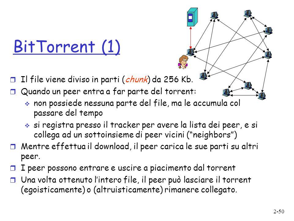 2-50 BitTorrent (1)  Il file viene diviso in parti (chunk) da 256 Kb.  Quando un peer entra a far parte del torrent:  non possiede nessuna parte de