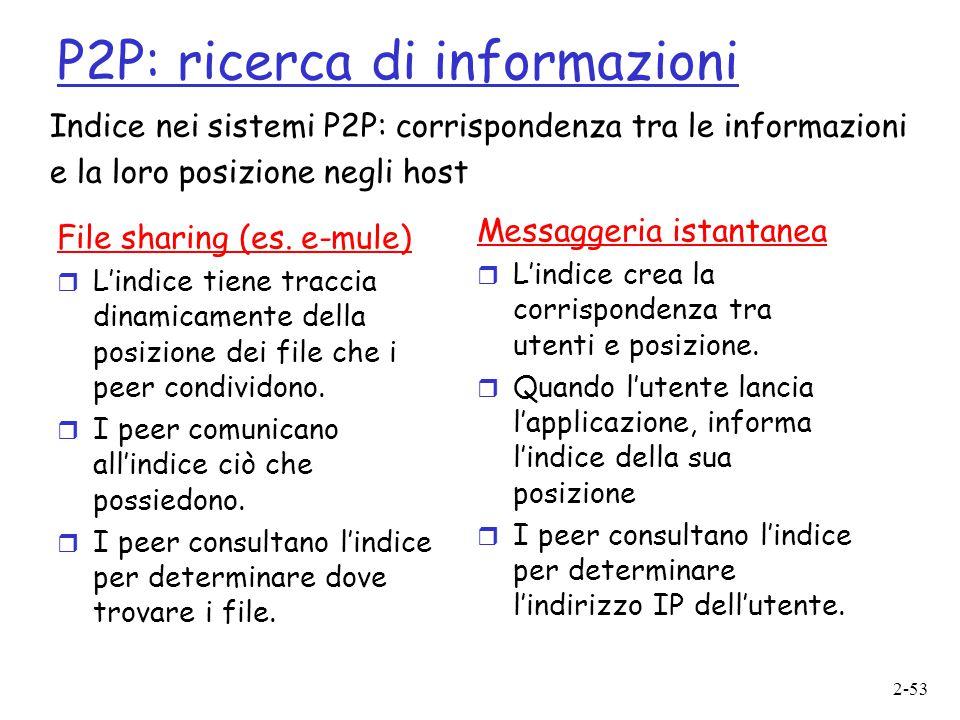 2-53 P2P: ricerca di informazioni File sharing (es. e-mule)  L'indice tiene traccia dinamicamente della posizione dei file che i peer condividono. 