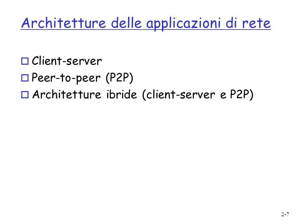 2-7 Architetture delle applicazioni di rete o Client-server o Peer-to-peer (P2P) o Architetture ibride (client-server e P2P)