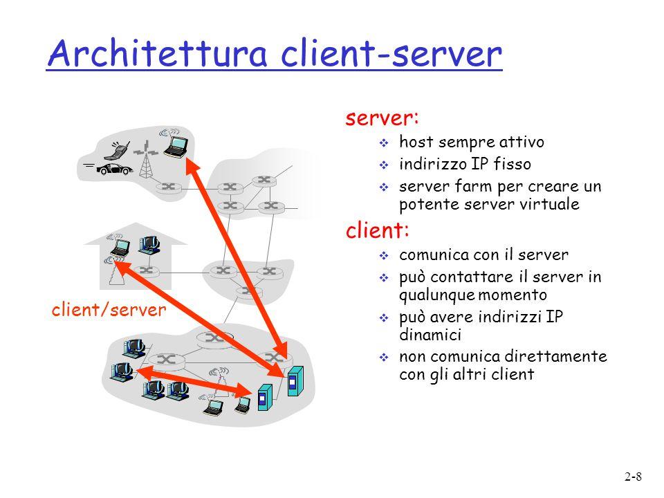 2-9 Architettura P2P pura o non c'è un server sempre attivo o coppie arbitrarie di host (peer) comunicano direttamente tra loro o i peer non devono necessariamente essere sempre attivi, e cambiano indirizzo IP Facilmente scalabile Difficile da gestire peer to peer