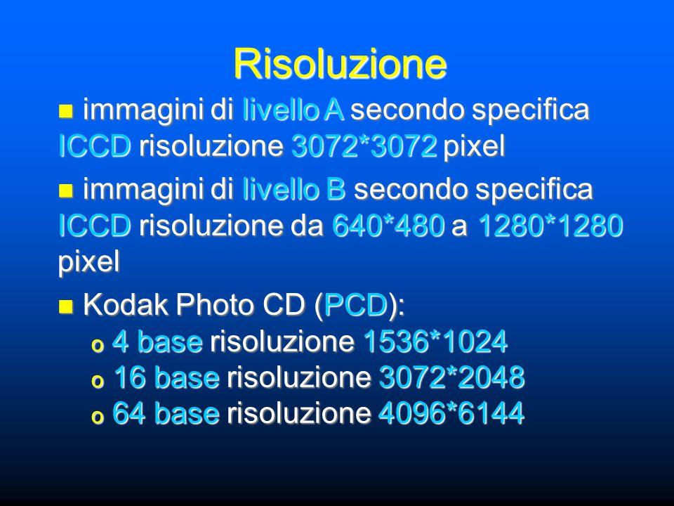 Risoluzione immagini di livello A secondo specifica ICCD risoluzione 3072*3072 pixel immagini di livello A secondo specifica ICCD risoluzione 3072*3072 pixel immagini di livello B secondo specifica ICCD risoluzione da 640*480 a 1280*1280 pixel immagini di livello B secondo specifica ICCD risoluzione da 640*480 a 1280*1280 pixel Kodak Photo CD (PCD): Kodak Photo CD (PCD): o 4 base risoluzione 1536*1024 o 16 base risoluzione 3072*2048 o 64 base risoluzione 4096*6144