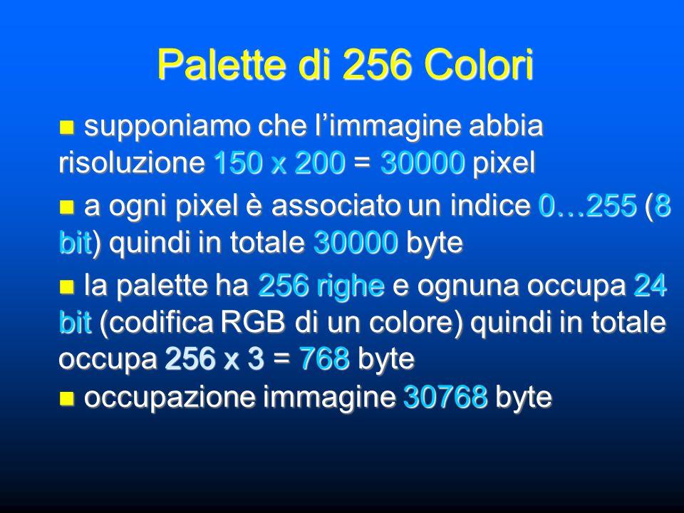 supponiamo che l'immagine abbia risoluzione 150 x 200 = 30000 pixel supponiamo che l'immagine abbia risoluzione 150 x 200 = 30000 pixel a ogni pixel è associato un indice 0…255 (8 bit) quindi in totale 30000 byte a ogni pixel è associato un indice 0…255 (8 bit) quindi in totale 30000 byte la palette ha 256 righe e ognuna occupa 24 bit (codifica RGB di un colore) quindi in totale occupa 256 x 3 = 768 byte la palette ha 256 righe e ognuna occupa 24 bit (codifica RGB di un colore) quindi in totale occupa 256 x 3 = 768 byte occupazione immagine 30768 byte occupazione immagine 30768 byte Palette di 256 Colori