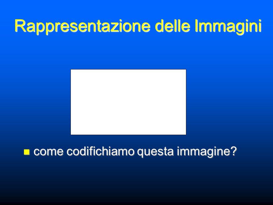 Rappresentazione delle Immagini come codifichiamo questa immagine? come codifichiamo questa immagine?