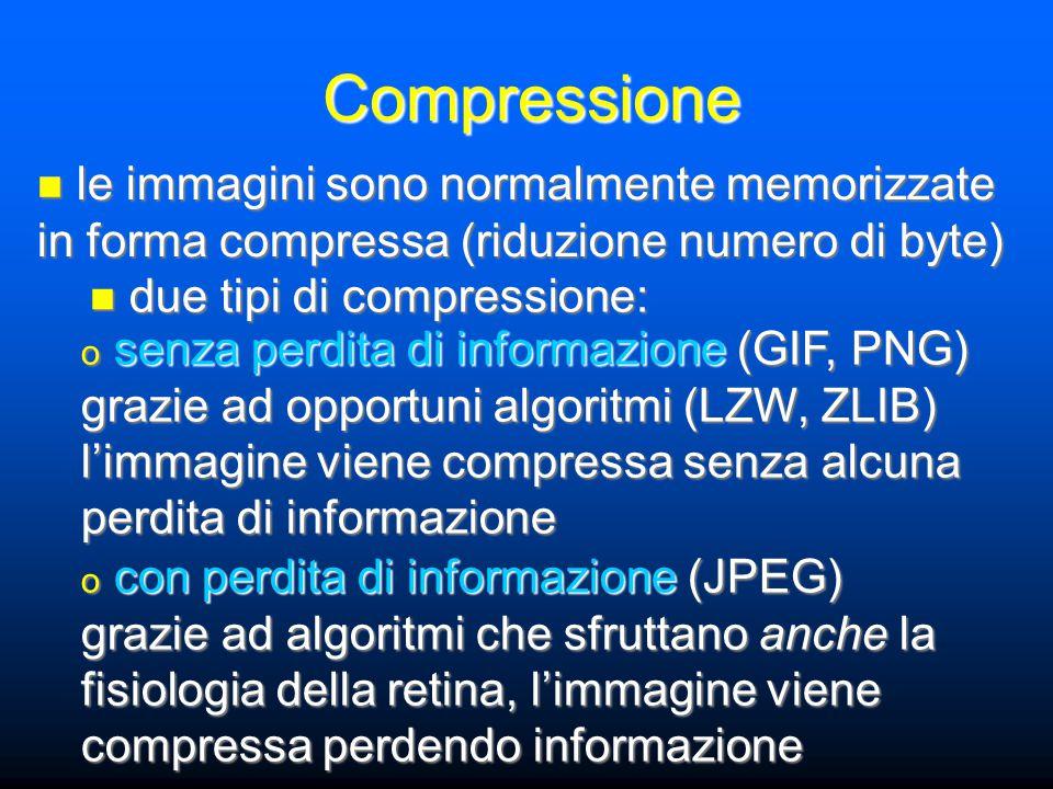 Compressione le immagini sono normalmente memorizzate in forma compressa (riduzione numero di byte) le immagini sono normalmente memorizzate in forma compressa (riduzione numero di byte) due tipi di compressione: due tipi di compressione: o senza perdita di informazione (GIF, PNG) grazie ad opportuni algoritmi (LZW, ZLIB) l'immagine viene compressa senza alcuna perdita di informazione o con perdita di informazione (JPEG) grazie ad algoritmi che sfruttano anche la fisiologia della retina, l'immagine viene compressa perdendo informazione