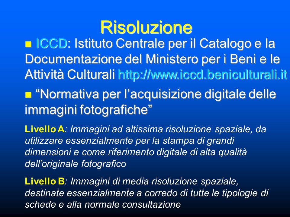 """Risoluzione """"Normativa per l'acquisizione digitale delle immagini fotografiche"""" """"Normativa per l'acquisizione digitale delle immagini fotografiche"""" Li"""
