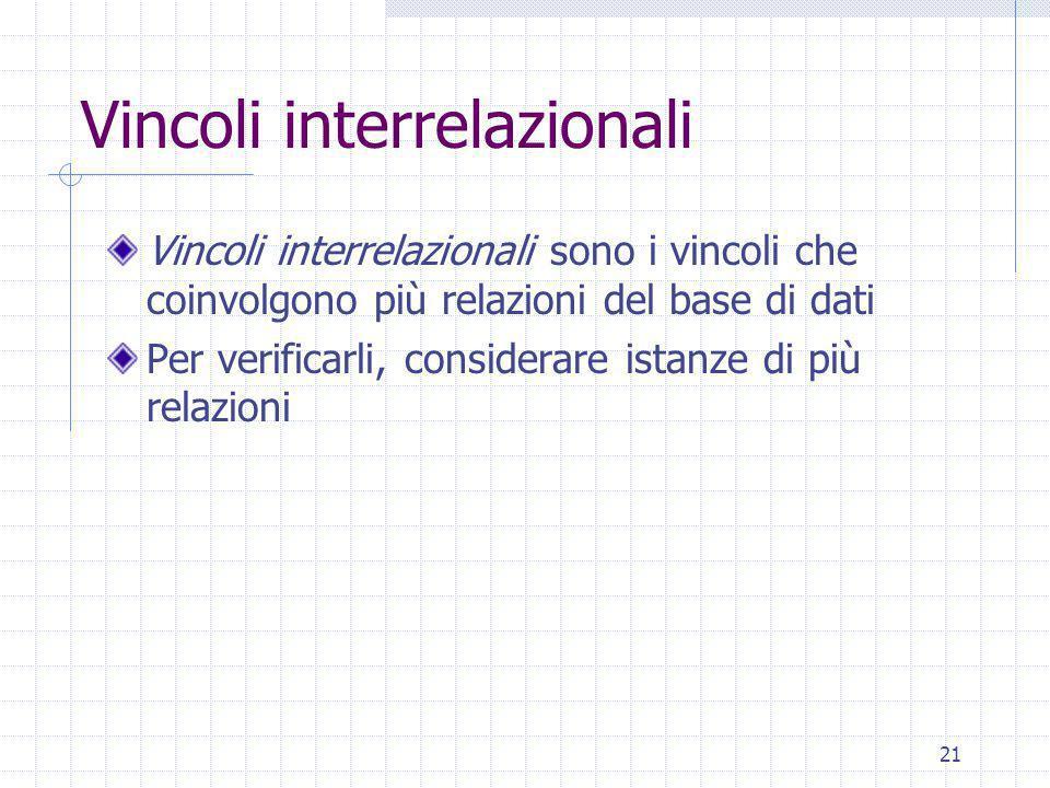 21 Vincoli interrelazionali Vincoli interrelazionali sono i vincoli che coinvolgono più relazioni del base di dati Per verificarli, considerare istanze di più relazioni