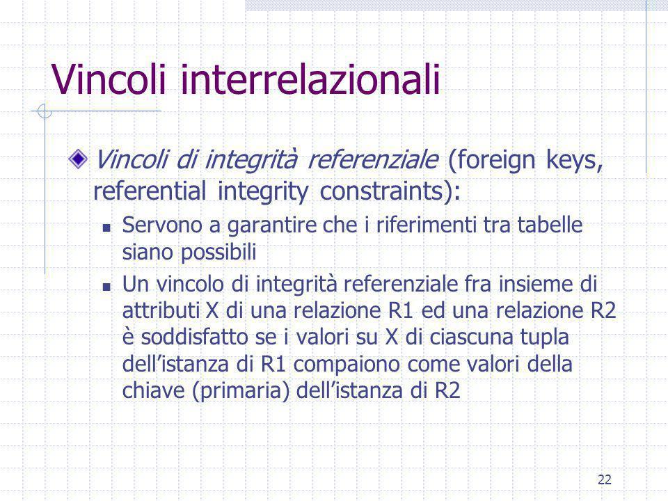 22 Vincoli interrelazionali Vincoli di integrità referenziale (foreign keys, referential integrity constraints): Servono a garantire che i riferimenti tra tabelle siano possibili Un vincolo di integrità referenziale fra insieme di attributi X di una relazione R1 ed una relazione R2 è soddisfatto se i valori su X di ciascuna tupla dell'istanza di R1 compaiono come valori della chiave (primaria) dell'istanza di R2