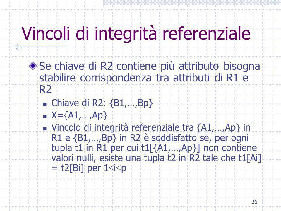 26 Vincoli di integrità referenziale Se chiave di R2 contiene più attributo bisogna stabilire corrispondenza tra attributi di R1 e R2 Chiave di R2: {B1,…,Bp} X={A1,…,Ap} Vincolo di integrità referenziale tra {A1,…,Ap} in R1 e {B1,…,Bp} in R2 è soddisfatto se, per ogni tupla t1 in R1 per cui t1[{A1,…,Ap}] non contiene valori nulli, esiste una tupla t2 in R2 tale che t1[Ai] = t2[Bi] per 1  i  p