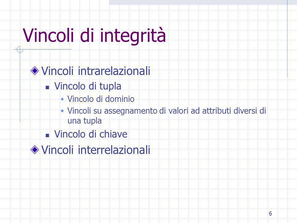 6 Vincoli di integrità Vincoli intrarelazionali Vincolo di tupla  Vincolo di dominio  Vincoli su assegnamento di valori ad attributi diversi di una tupla Vincolo di chiave Vincoli interrelazionali