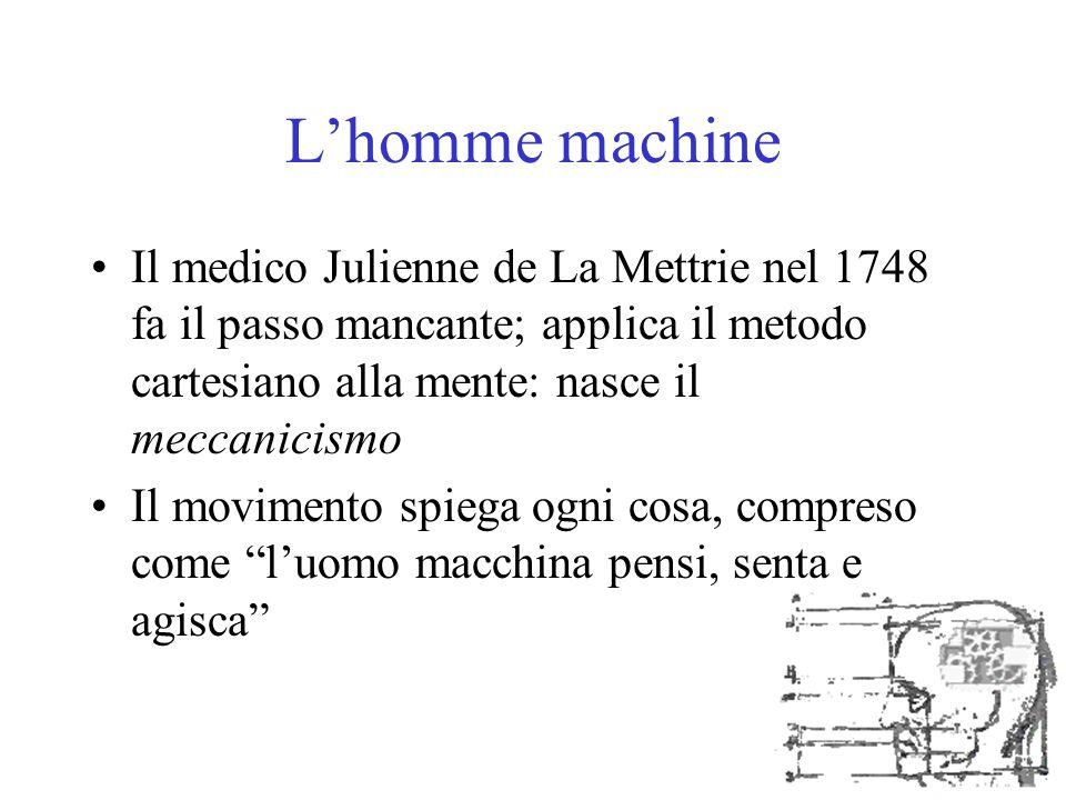 L'homme machine Il medico Julienne de La Mettrie nel 1748 fa il passo mancante; applica il metodo cartesiano alla mente: nasce il meccanicismo Il movi