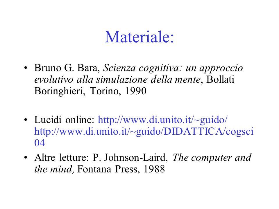 Materiale: Bruno G. Bara, Scienza cognitiva: un approccio evolutivo alla simulazione della mente, Bollati Boringhieri, Torino, 1990 Lucidi online: htt