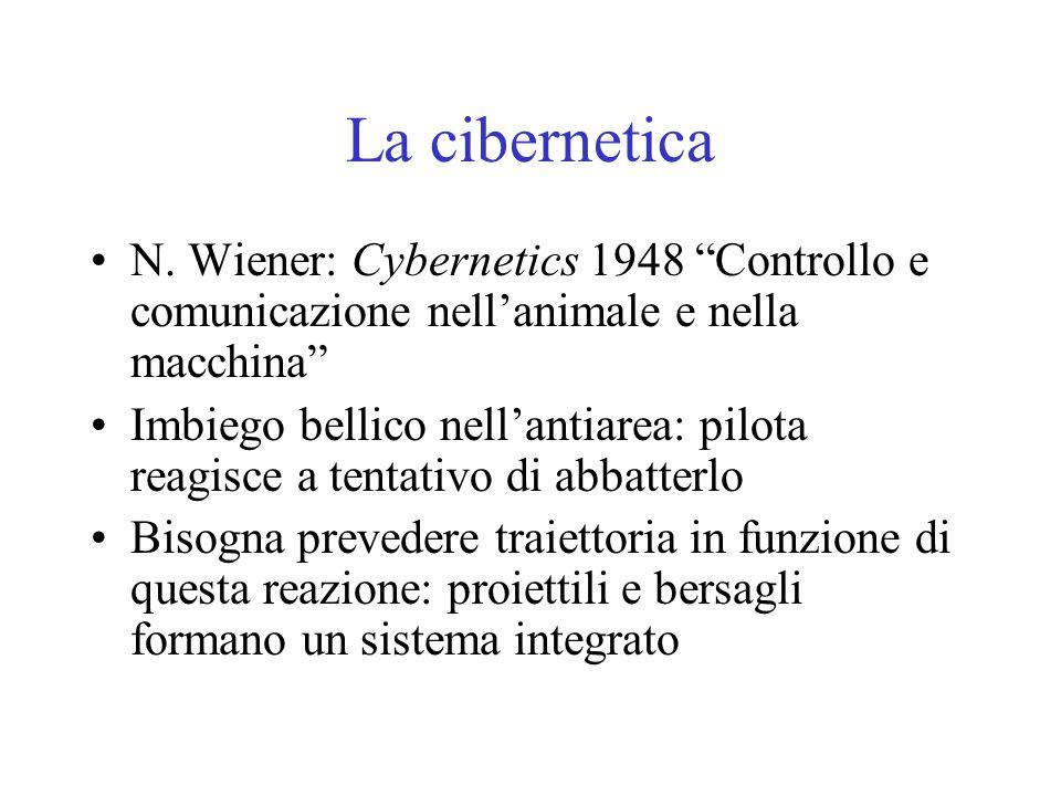 """La cibernetica N. Wiener: Cybernetics 1948 """"Controllo e comunicazione nell'animale e nella macchina"""" Imbiego bellico nell'antiarea: pilota reagisce a"""