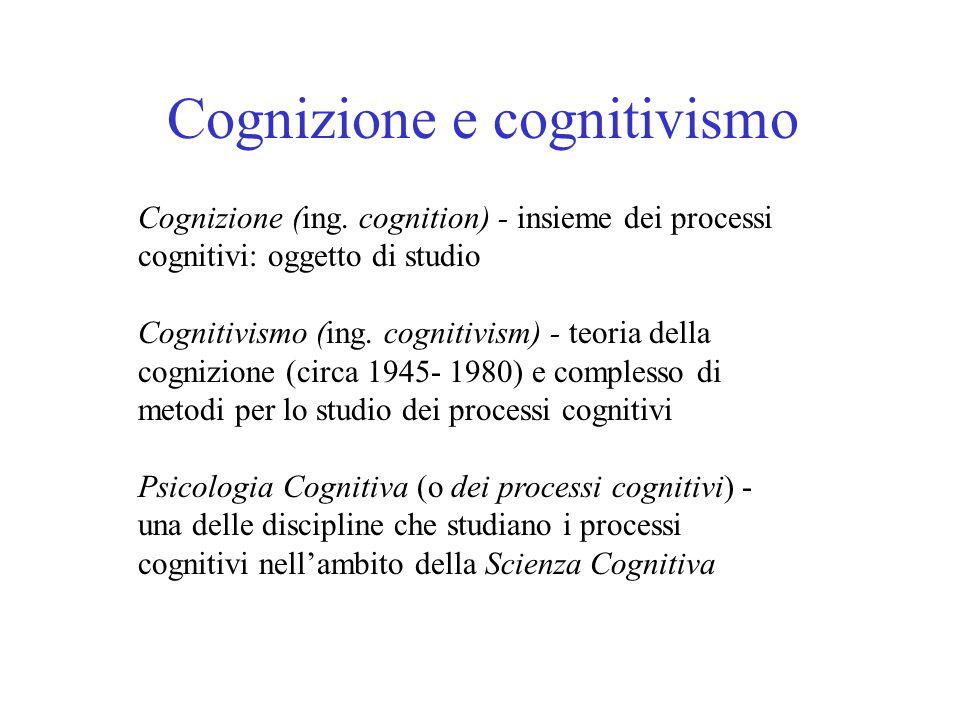 Cognizione e cognitivismo Cognizione (ing. cognition) - insieme dei processi cognitivi: oggetto di studio Cognitivismo (ing. cognitivism) - teoria del