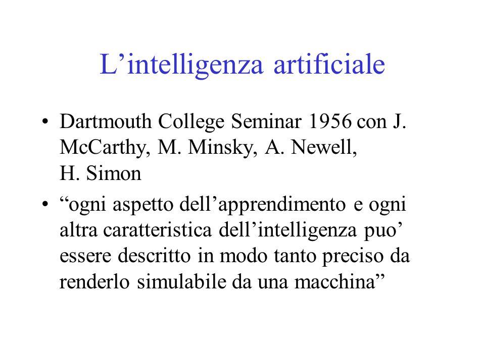 """L'intelligenza artificiale Dartmouth College Seminar 1956 con J. McCarthy, M. Minsky, A. Newell, H. Simon """"ogni aspetto dell'apprendimento e ogni altr"""