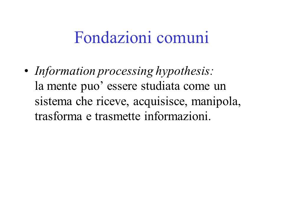 Fondazioni comuni Information processing hypothesis: la mente puo' essere studiata come un sistema che riceve, acquisisce, manipola, trasforma e trasm