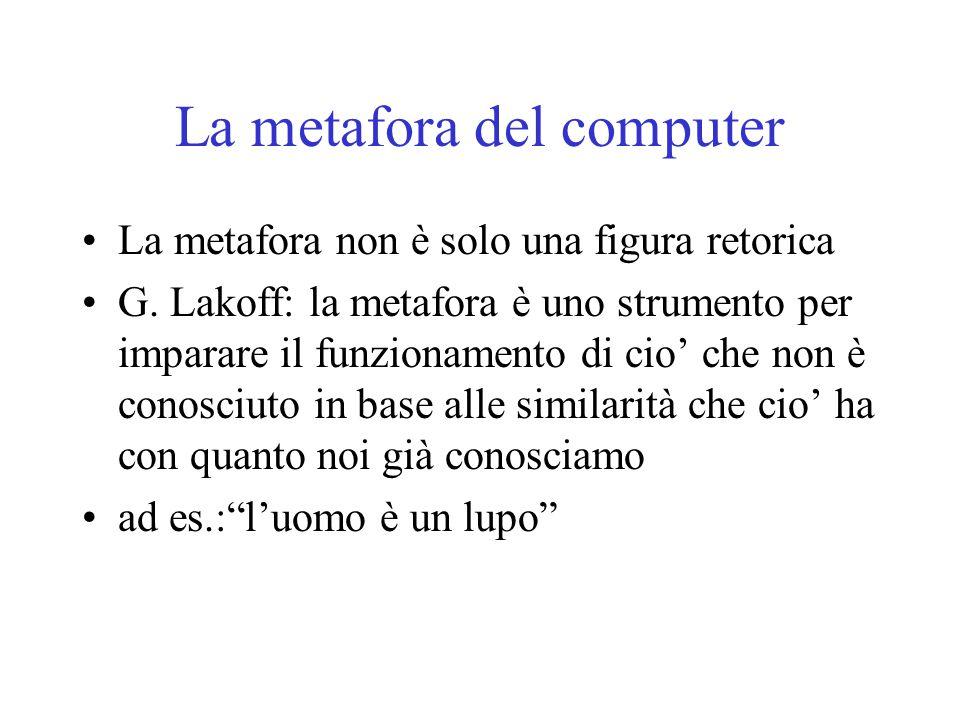 La metafora del computer La metafora non è solo una figura retorica G. Lakoff: la metafora è uno strumento per imparare il funzionamento di cio' che n