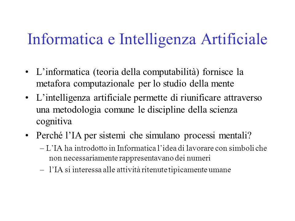 Informatica e Intelligenza Artificiale L'informatica (teoria della computabilità) fornisce la metafora computazionale per lo studio della mente L'inte