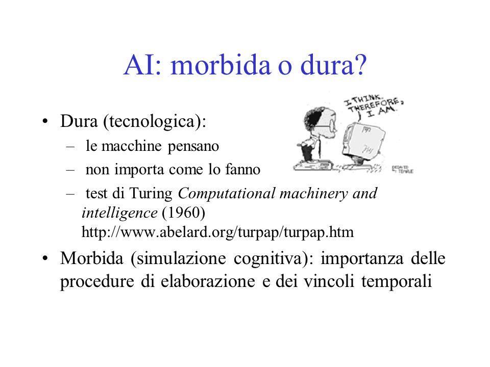 AI: morbida o dura? Dura (tecnologica): – le macchine pensano – non importa come lo fanno – test di Turing Computational machinery and intelligence (1