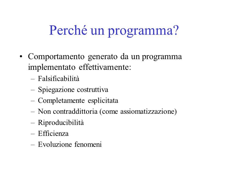 Perché un programma? Comportamento generato da un programma implementato effettivamente: –Falsificabilità –Spiegazione costruttiva –Completamente espl