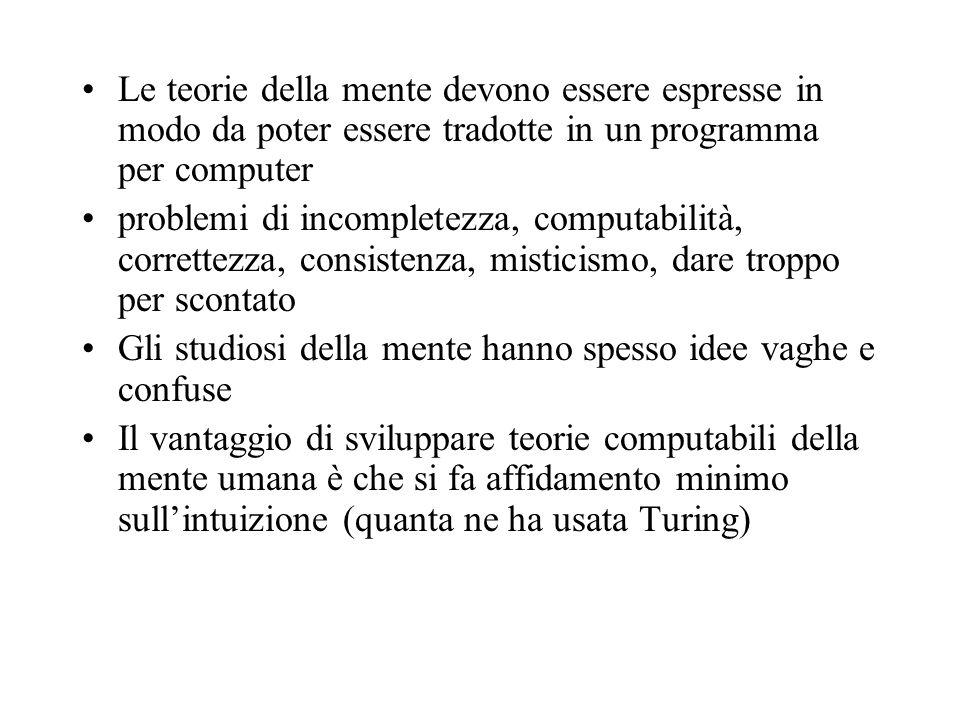 Le teorie della mente devono essere espresse in modo da poter essere tradotte in un programma per computer problemi di incompletezza, computabilità, c