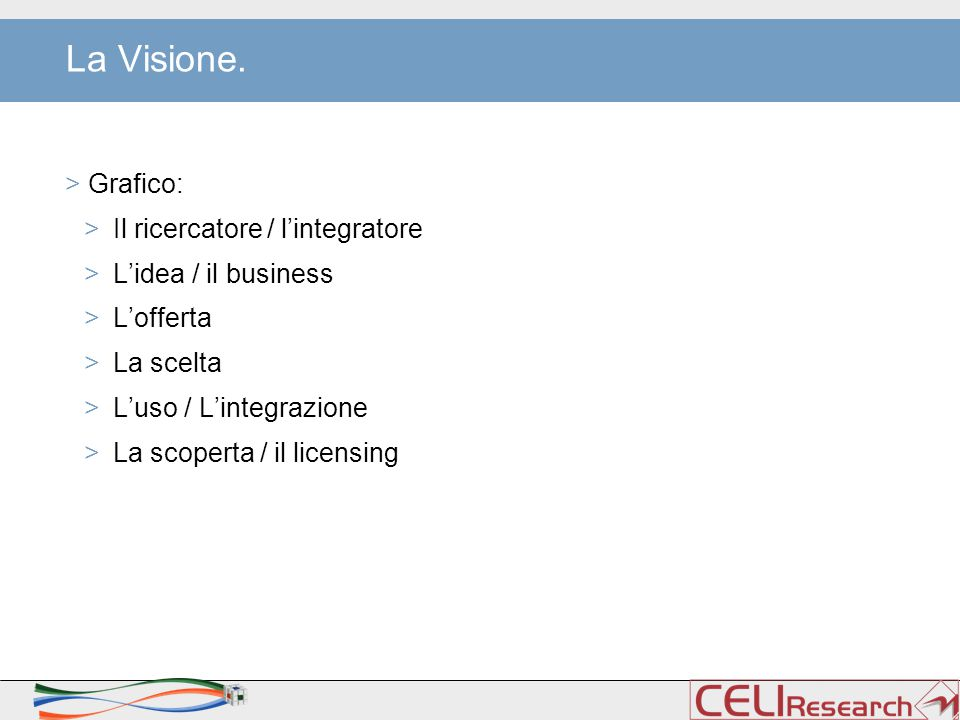 La Visione. > Grafico: >Il ricercatore / l'integratore >L'idea / il business >L'offerta >La scelta >L'uso / L'integrazione >La scoperta / il licensing