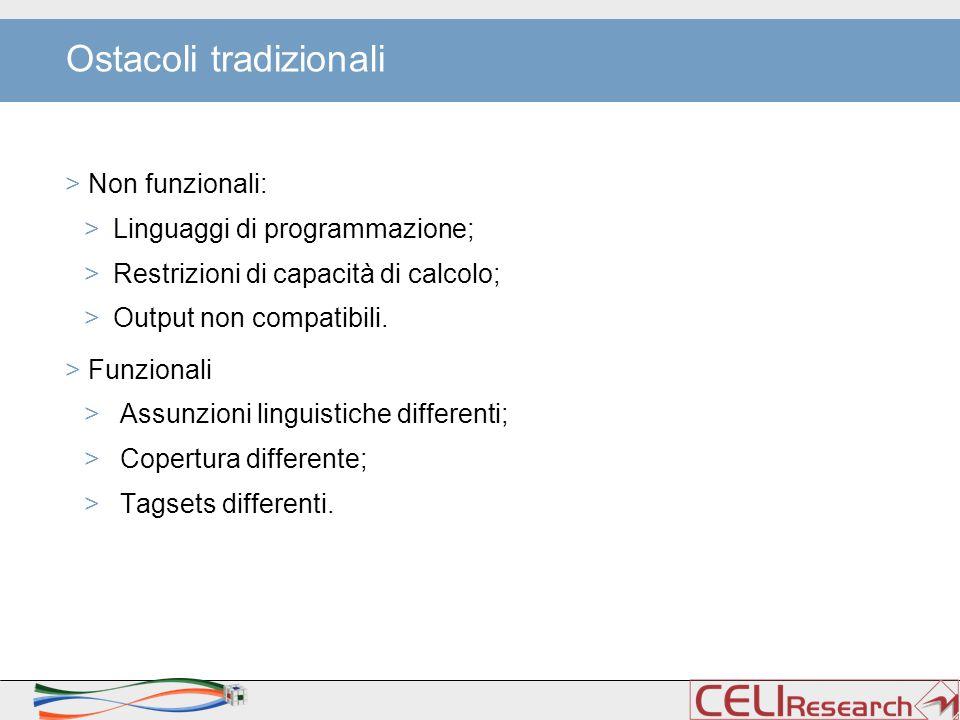 Ostacoli tradizionali > Non funzionali: >Linguaggi di programmazione; >Restrizioni di capacità di calcolo; >Output non compatibili.
