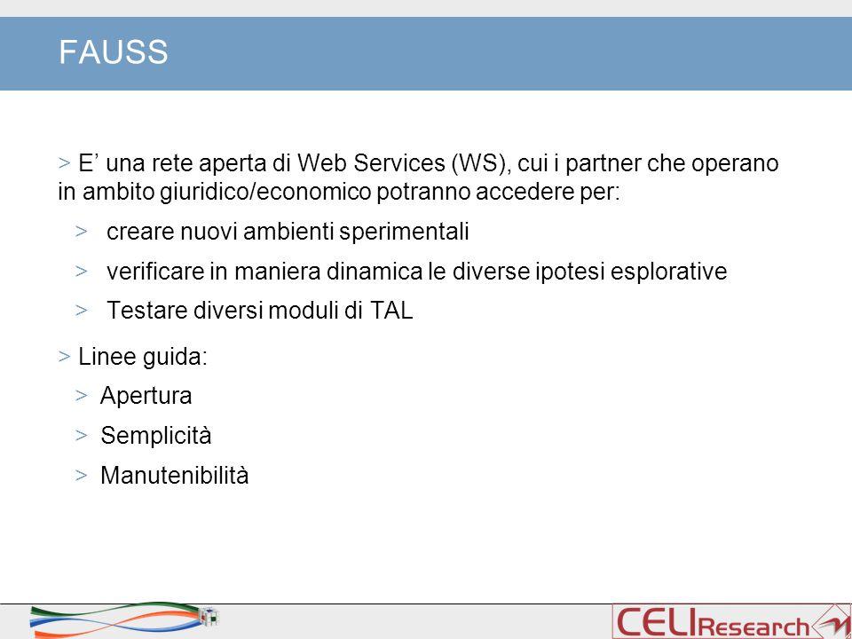 FAUSS > E' una rete aperta di Web Services (WS), cui i partner che operano in ambito giuridico/economico potranno accedere per: > creare nuovi ambient