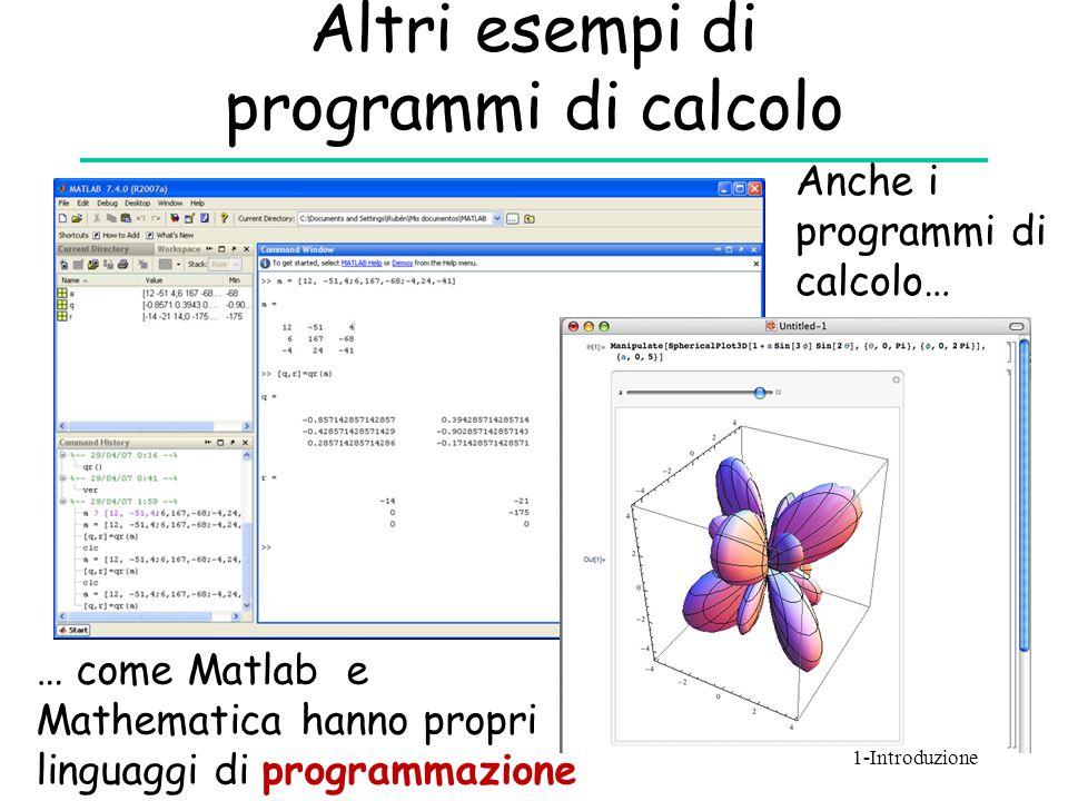 Altri esempi di programmi di calcolo Anche i programmi di calcolo… … come Matlab e Mathematica hanno propri linguaggi di programmazione 1-Introduzione