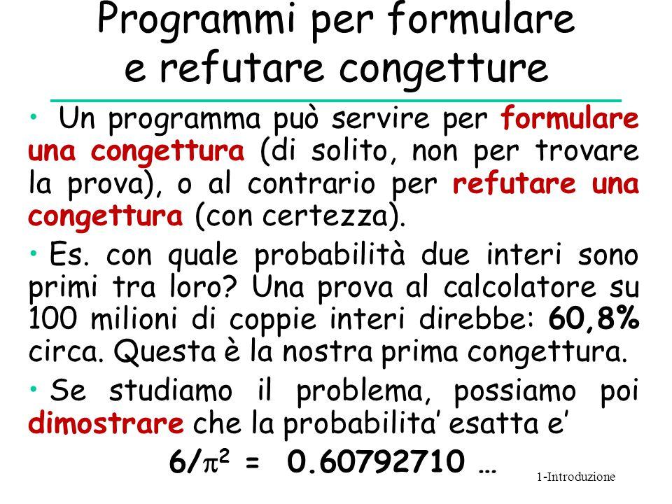 Programmi per formulare e refutare congetture Un programma può servire per formulare una congettura (di solito, non per trovare la prova), o al contra