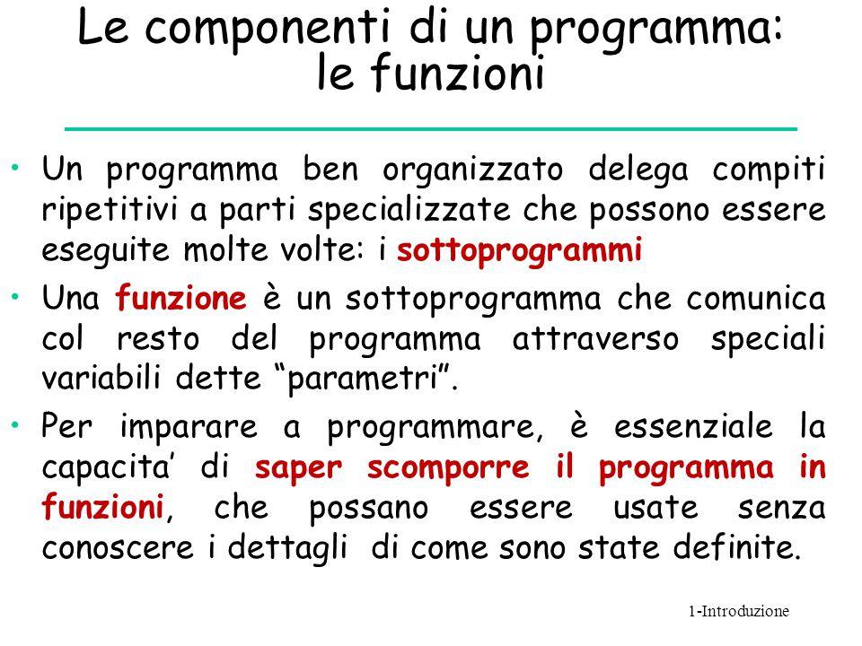 Le componenti di un programma: le funzioni Un programma ben organizzato delega compiti ripetitivi a parti specializzate che possono essere eseguite mo