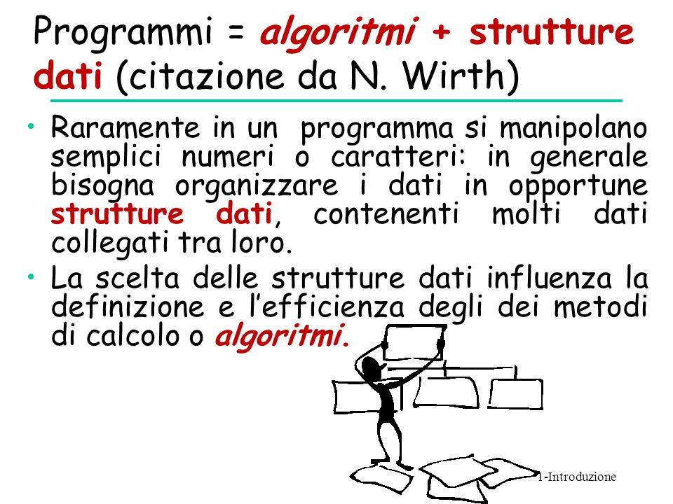 Programmi = algoritmi + strutture dati (citazione da N. Wirth) Raramente in un programma si manipolano semplici numeri o caratteri: in generale bisogn
