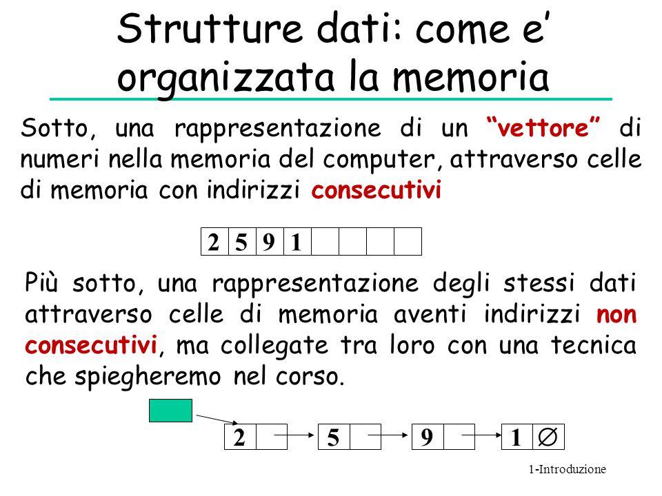 """Strutture dati: come e' organizzata la memoria 251  9 2591 Sotto, una rappresentazione di un """"vettore"""" di numeri nella memoria del computer, attraver"""