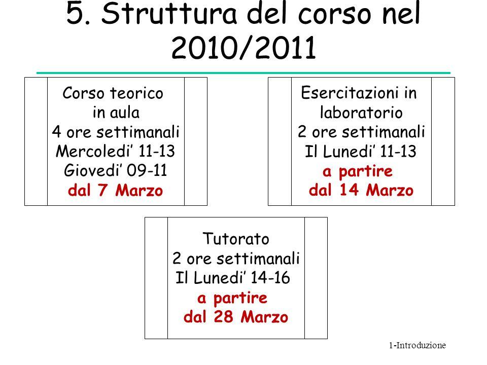 5. Struttura del corso nel 2010/2011 Corso teorico in aula 4 ore settimanali Mercoledi' 11-13 Giovedi' 09-11 dal 7 Marzo Esercitazioni in laboratorio