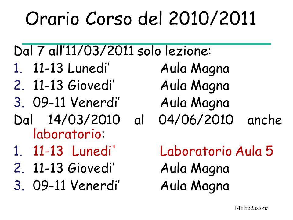 Orario Corso del 2010/2011 Dal 7 all'11/03/2011 solo lezione: 1.11-13 Lunedi' Aula Magna 2.11-13 Giovedi' Aula Magna 3.09-11 Venerdi' Aula Magna Dal 1