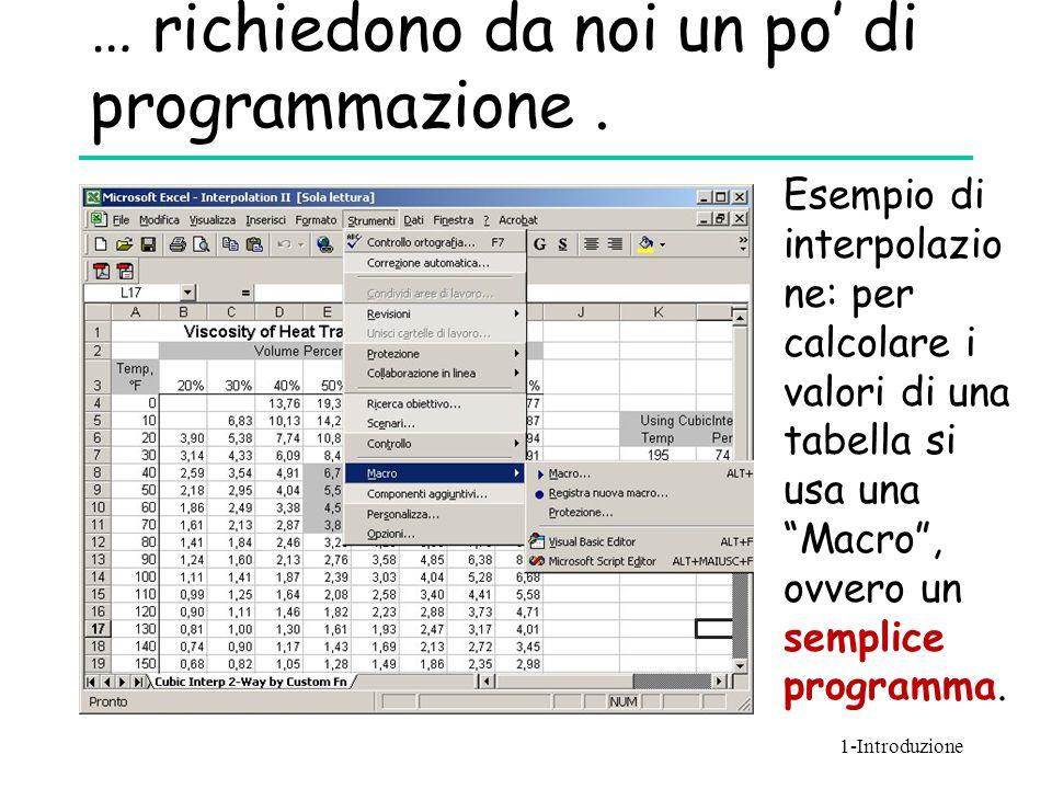 """… richiedono da noi un po' di programmazione. Esempio di interpolazio ne: per calcolare i valori di una tabella si usa una """"Macro"""", ovvero un semplice"""