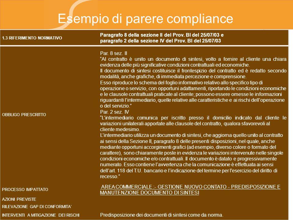 Esempio di parere compliance