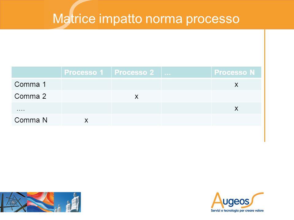 Processo 1Processo 2...Processo N Comma 1x Comma 2x....x Comma Nx Matrice impatto norma processo