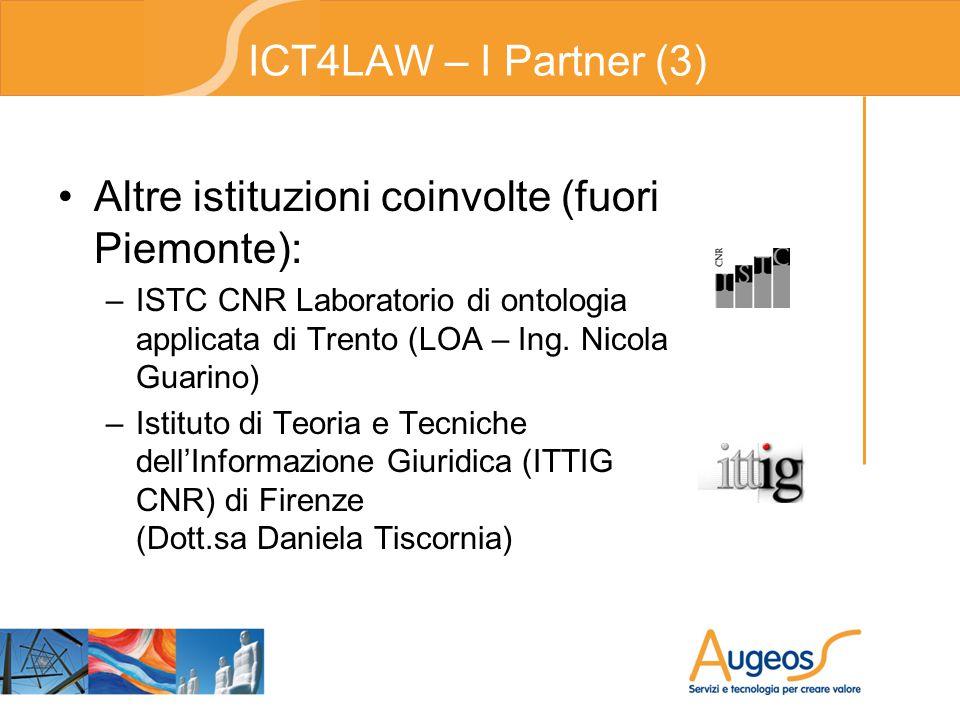 ICT4LAW – I Partner (3) Altre istituzioni coinvolte (fuori Piemonte): –ISTC CNR Laboratorio di ontologia applicata di Trento (LOA – Ing.
