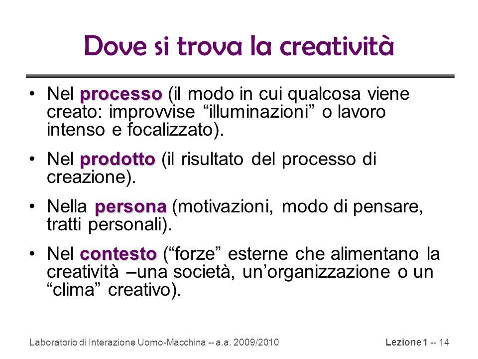 Laboratorio di Interazione Uomo-Macchina -- a.a. 2009/2010Lezione 1 -- 14 Dove si trova la creatività processoNel processo (il modo in cui qualcosa vi