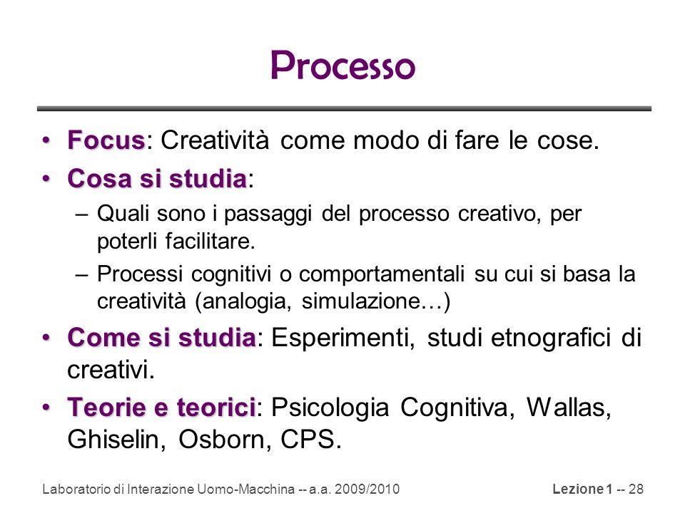 Laboratorio di Interazione Uomo-Macchina -- a.a. 2009/2010Lezione 1 -- 28 Processo FocusFocus: Creatività come modo di fare le cose. Cosa si studiaCos