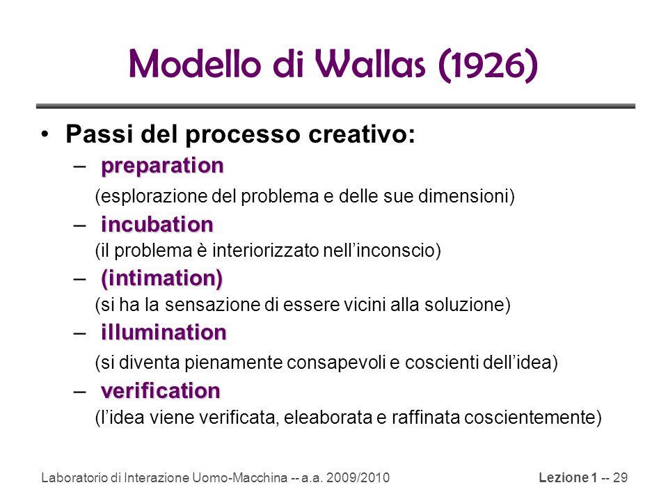Laboratorio di Interazione Uomo-Macchina -- a.a. 2009/2010Lezione 1 -- 29 Modello di Wallas (1926) Passi del processo creativo: preparation – preparat