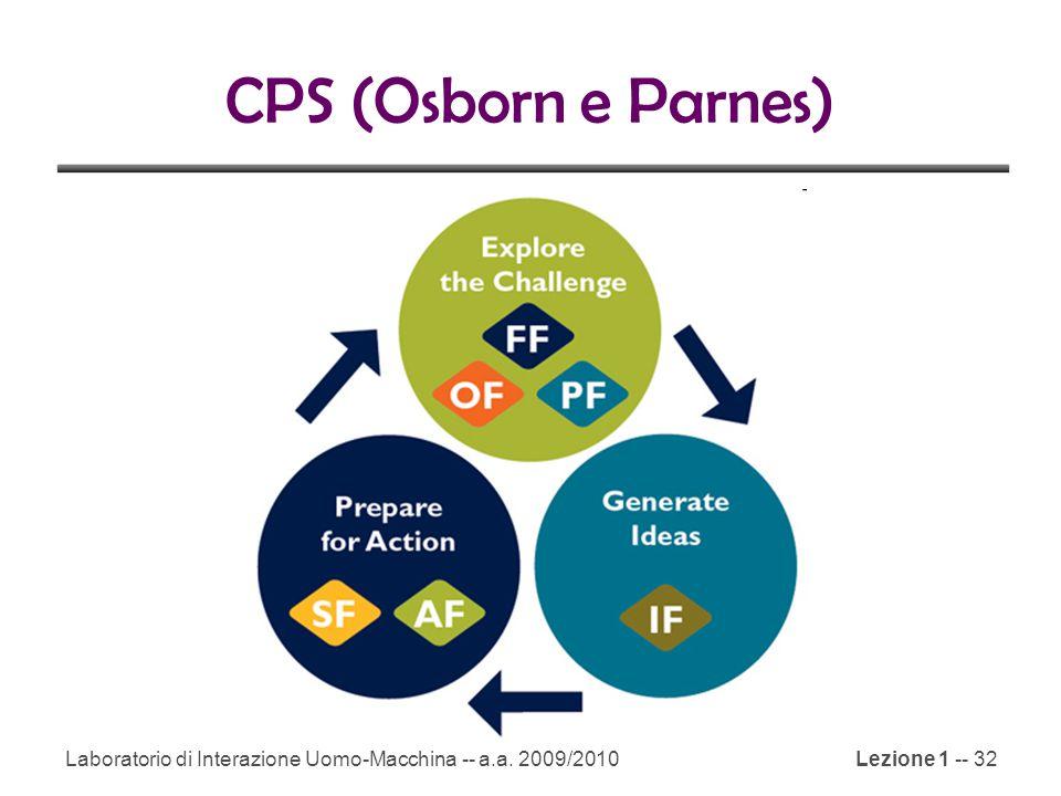 Laboratorio di Interazione Uomo-Macchina -- a.a. 2009/2010Lezione 1 -- 32 CPS (Osborn e Parnes)