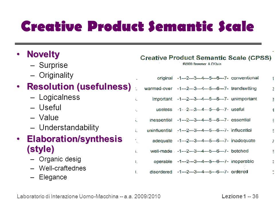 Laboratorio di Interazione Uomo-Macchina -- a.a. 2009/2010Lezione 1 -- 36 Creative Product Semantic Scale NoveltyNovelty –Surprise –Originality Resolu