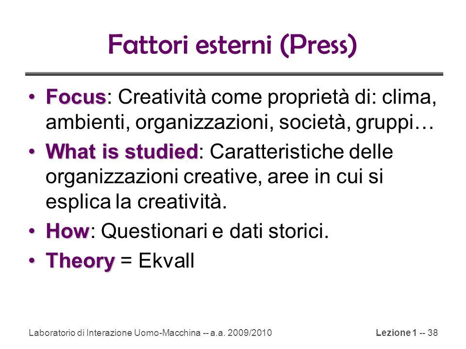 Laboratorio di Interazione Uomo-Macchina -- a.a. 2009/2010Lezione 1 -- 38 Fattori esterni (Press) FocusFocus: Creatività come proprietà di: clima, amb