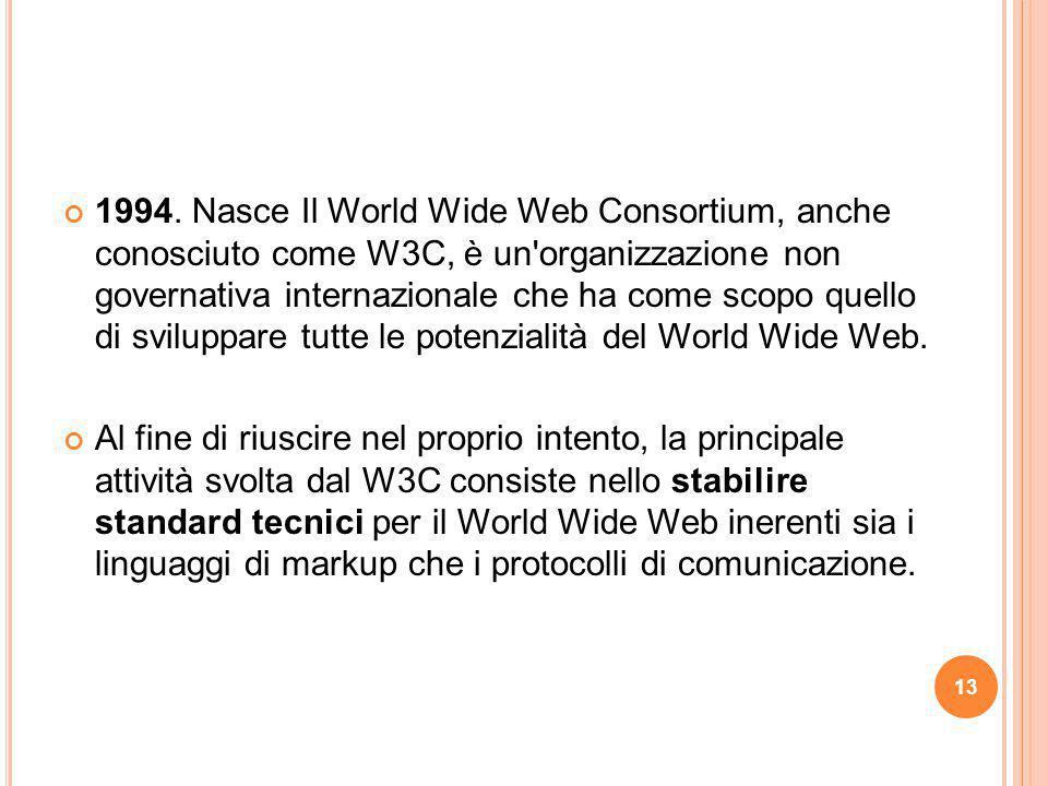 1994. Nasce Il World Wide Web Consortium, anche conosciuto come W3C, è un'organizzazione non governativa internazionale che ha come scopo quello di sv