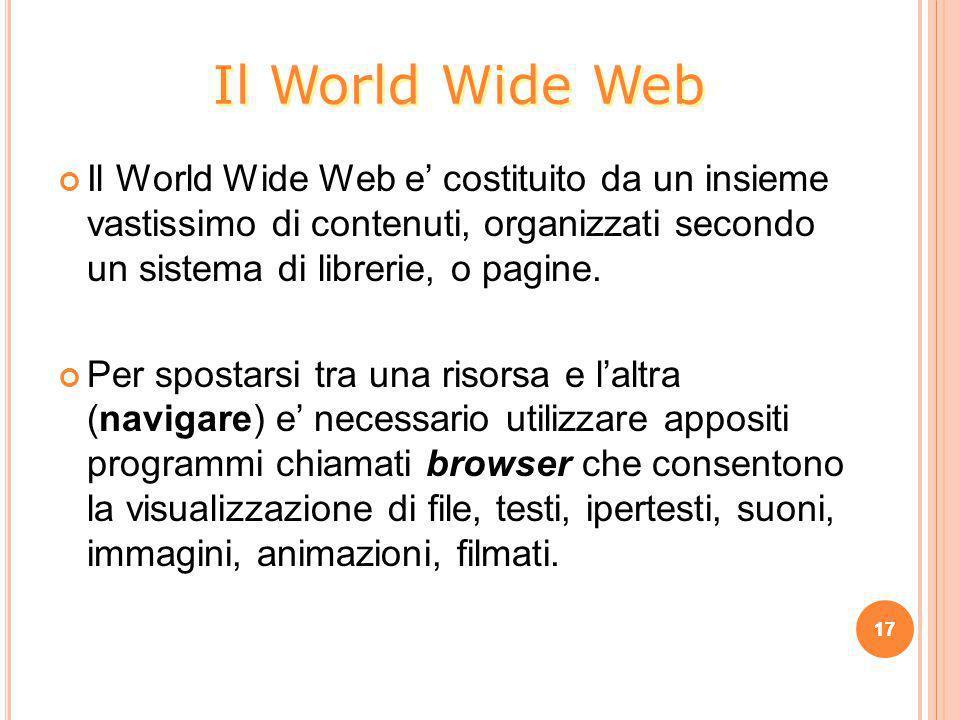 Il World Wide Web e' costituito da un insieme vastissimo di contenuti, organizzati secondo un sistema di librerie, o pagine. Per spostarsi tra una ris