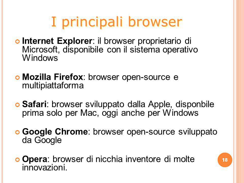 Internet Explorer: il browser proprietario di Microsoft, disponibile con il sistema operativo Windows Mozilla Firefox: browser open-source e multipiat