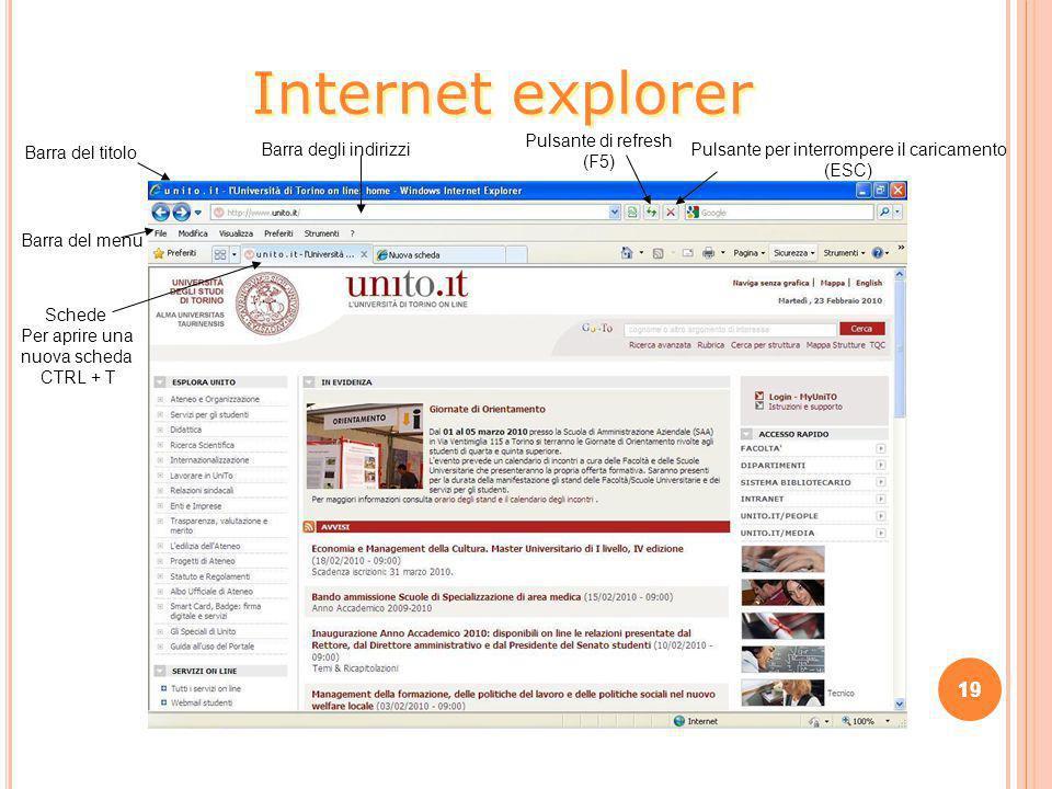 19 Internet explorer Barra del titolo Barra degli indirizzi Pulsante di refresh (F5) Pulsante per interrompere il caricamento (ESC) Barra del menu Sch