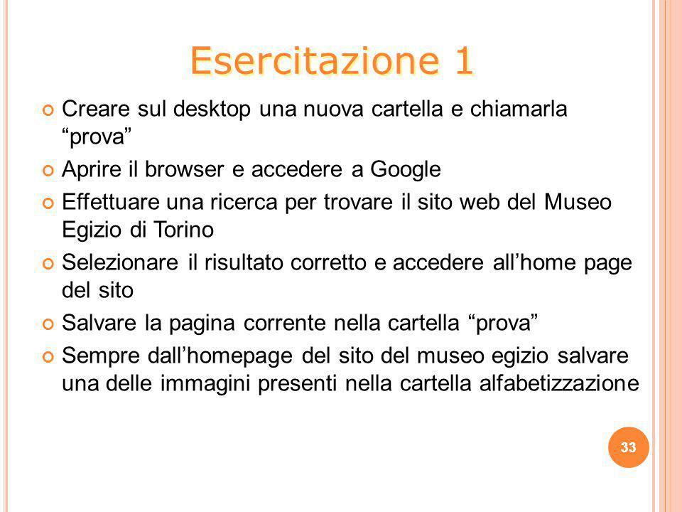 """Creare sul desktop una nuova cartella e chiamarla """"prova"""" Aprire il browser e accedere a Google Effettuare una ricerca per trovare il sito web del Mus"""